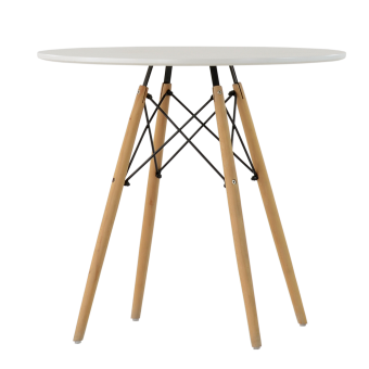 Стол Barneo T-8, высота 75см, столешница круг диаметр 80см, цвет RAL9003 белый, каркас светлый